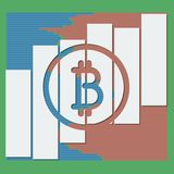 Moeda do logotipo de Bitcoin com as colunas dos volumes da cor do mercado Fotografia de Stock
