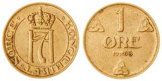 1 moeda do minério 1938 isolada no fundo branco, Noruega Imagens de Stock Royalty Free