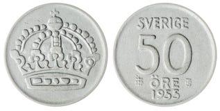 50 moeda do minério 1955 isolada no fundo branco, Suécia Imagens de Stock Royalty Free