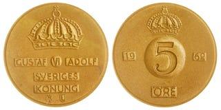 5 moeda do minério 1962 isolada no fundo branco, Suécia Fotografia de Stock Royalty Free