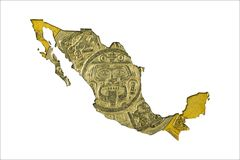 Moeda 1998 do peso dez mexicano na forma de México fotografia de stock