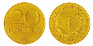 20 moeda do pfennig 1969 isolada no fundo branco, Alemanha Imagens de Stock Royalty Free
