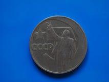 Moeda do rublo de russo do vintage sobre o azul Fotografia de Stock Royalty Free