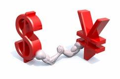 A moeda do símbolo do dólar e dos ienes faz a luta romana de braço Imagens de Stock