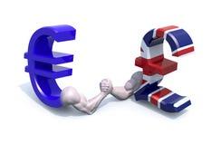 A moeda do símbolo do Euro e da esterlina faz a luta romana de braço Imagens de Stock Royalty Free