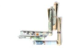 A moeda dobrou-se na forma de um canto Fotografia de Stock Royalty Free