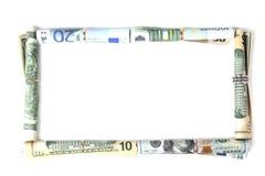 A moeda dobrou-se na forma de um quadro Foto de Stock