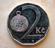 Moeda - dois-coroa, República Checa Fotografia de Stock Royalty Free