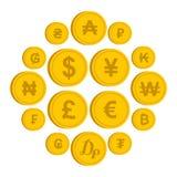 Moeda dos ícones diferentes dos países ajustados ilustração royalty free