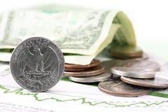Moeda dos E.U. no gráfico da finança fotografia de stock royalty free