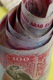 Moeda dos Uae 100 notas do dirham Foto de Stock Royalty Free