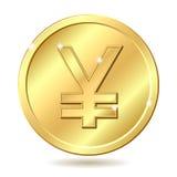 Moeda dourada com sinal de ienes Fotos de Stock Royalty Free
