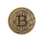 Moeda dourada de Bitcoin Fotografia de Stock Royalty Free