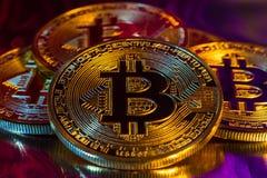 Moeda dourada física do bitcoin de Cryptocurrency no backgrou colorido Fotos de Stock