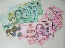 Moeda e moedas de Tailândia Fotos de Stock