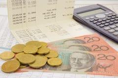 Moeda e papel moeda de Austrália Fotografia de Stock