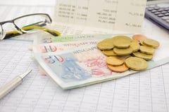 Moeda e papel moeda de Singapura Fotografia de Stock Royalty Free