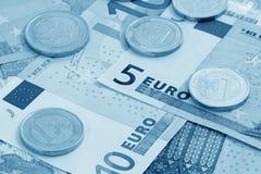 Moeda européia (azul tonificado) Imagem de Stock