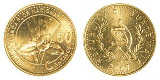 moeda guatemalteca de 50 centavos Imagem de Stock Royalty Free