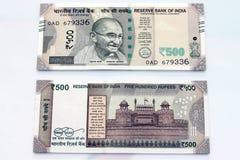 Moeda indiana de notas de 500 rupias Fotografia de Stock Royalty Free