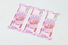 Moeda indiana nova de 2000 notas da rupia Foto de Stock