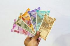 A moeda indiana nova nota todas as denominações imagens de stock royalty free