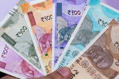 A moeda indiana nova nota todas as denominações imagem de stock