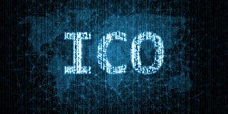 Moeda inicial que oferece o texto de ICO escrito no formato binário na conexão de rede prendida abstrata sobre o fundo do mapa do ilustração do vetor