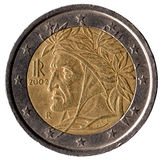 Moeda italiana de 2 euro Fotografia de Stock