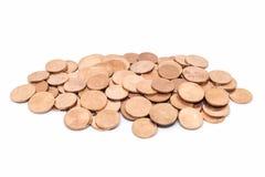 Moeda, moeda de bronze no fundo branco Foto de Stock Royalty Free