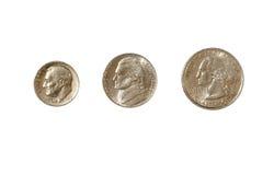Moeda, moeda de dez centavos, niquelar, quarto Foto de Stock Royalty Free