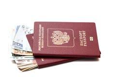 Moeda no passaporte do russo Fotos de Stock