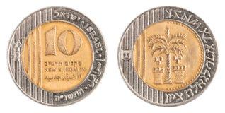 Moeda nova israelita de 10 Sheqel Foto de Stock