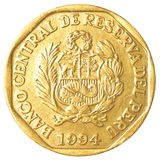Moeda peruana de 20 centimos do solenoide do nuevo Fotos de Stock