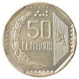Moeda peruana de 50 centimos do solenoide do nuevo Foto de Stock Royalty Free
