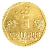 Moeda peruana de 5 centimos do solenoide do nuevo Imagem de Stock