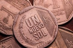1 moeda peruana do solenoide do nuevo Foto de Stock Royalty Free