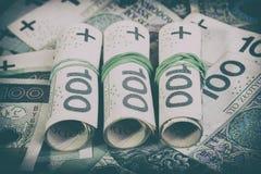 Moeda polonesa PLN, dinheiro Arquive o rolo das cédulas de 100 PLN P Foto de Stock Royalty Free