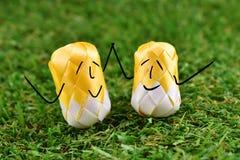 A moeda que dobra-se com fita é dada forma um sorriso feliz colorido do ovo na grama verde para a cerimônia do scatter da classif Fotos de Stock