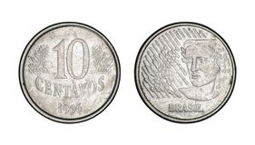 Moeda real brasileira de dez centavos, parte dianteira e caras traseiras - moedas velhas fotografia de stock