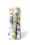 A moeda rolou nos tubos Foto de Stock