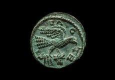 Moeda romana provincial antiga com imagem do pássaro Fotografia de Stock Royalty Free