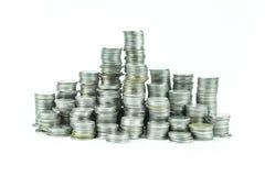 moeda tailandesa do banho no fundo branco Fotografia de Stock