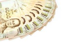 Moeda tailandesa do dinheiro mil cédulas do baht isoladas no whit Fotos de Stock Royalty Free