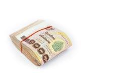 Moeda tailandesa do dinheiro, pilha de mil isolat das cédulas do baht Imagem de Stock