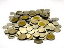 A moeda tailandesa isolada no fundo branco Fotos de Stock Royalty Free