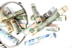 A moeda torceu em rolos Fotos de Stock Royalty Free