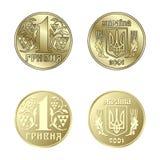 Moeda uma Hryvnia no vetor Imagens de Stock Royalty Free