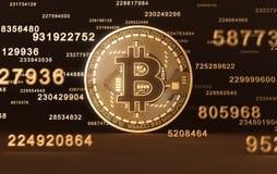 Moeda virtual Bitcoin e dígitos Foto de Stock