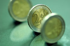 Moedas 2 do euro Fotografia de Stock